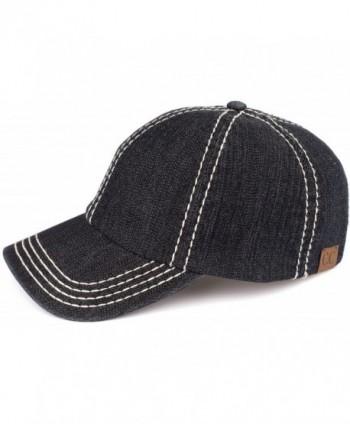 Funky Junque's Women's Acid Washed Shredded Denim 6 Panel Velcro Baseball Hat - Denim Black - CG17XXE7H3N