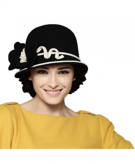 Maitose Women s Wool Felt Bowler Hat Black - CX126NOCVYL 5437cf5f446c