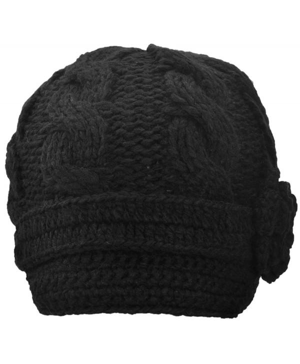 Simplicity Women's Winter Knit Visor Hat Ski/Snowboard Beanie with Flower - 1128_black - CO11G43ODUR