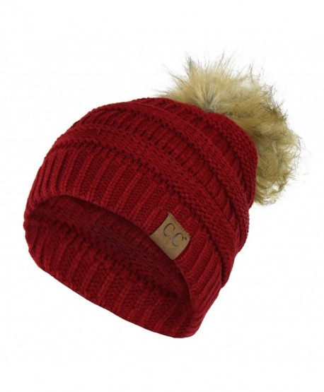 Chunky Cable Knit Beanie Hat w/ Faux Fur Pom Pom - Winter Soft Stretch Skull Cap - Burgundy - CN12N1UQSFN