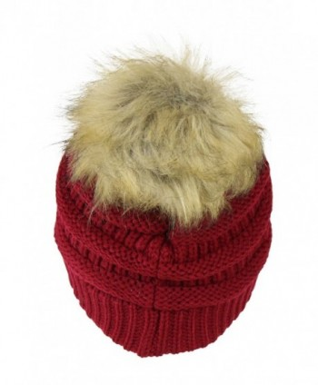 Burgundy Chunky Cable Knit Beanie in Women's Skullies & Beanies
