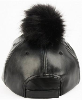 Faux Leather 6 Panel Pom Pom Baseball Cap - Black/Black - C61209MQE3R