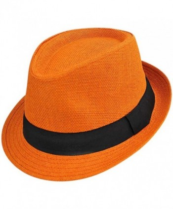 Luxury Divas Vibrant Basic Straw Fedora Hat - Orange - CH12FFTLN7B