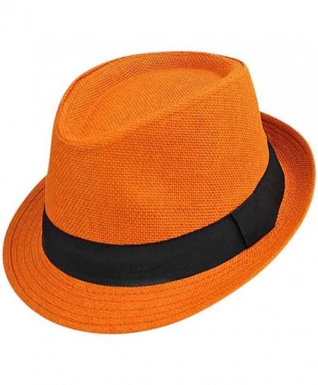 Luxury Divas Vibrant Basic Straw Fedora Hat - Orange - CH12FFTLN7B 9198c1d1967