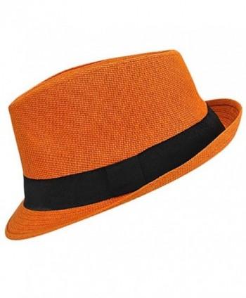 9d7cbffd351c6 Vibrant Basic Straw Fedora Hat - Orange - CH12FFTLN7B