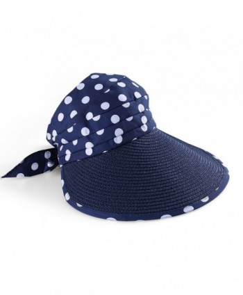 Aerusi Classic Roll up Foldable Wide Large Brim Summer Swimming Beach Sun Hat - Navy Blue - CX12GSL7F1D