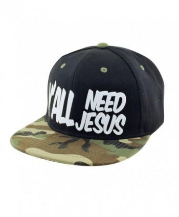 0810a49e Y'ALL NEED JESUS 3D Logo Snapback Baseball Hat - Black-camo - CD17YIW7IKZ