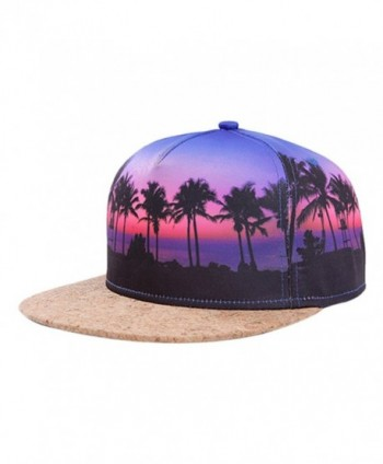 So'each Galaxy Hawaii Coconut Tree Print Flatbill Visor Snapback Cap Baseball Hat - CH12E611XYH