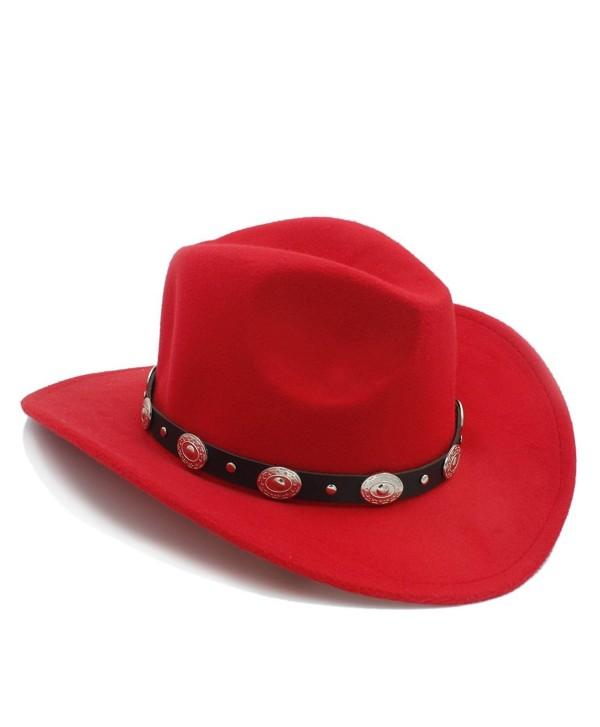 Vintage Western Cowboy Cowgirl Sombrero - Red - C9182XD2478