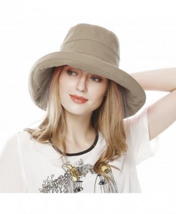 Lovful Women's Cotton Big Brim Hat Summer Beach Hat With Fold-Up Brim - Khaki - CL12DGZQCRR