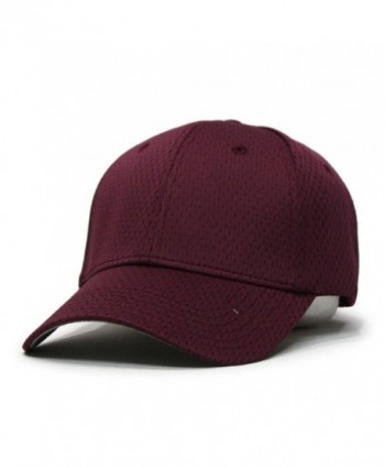 Plain Pro Cool Mesh Low Profile Baseball Cap with Adjustable Velcro - Maroon - CT12CDMCUHP