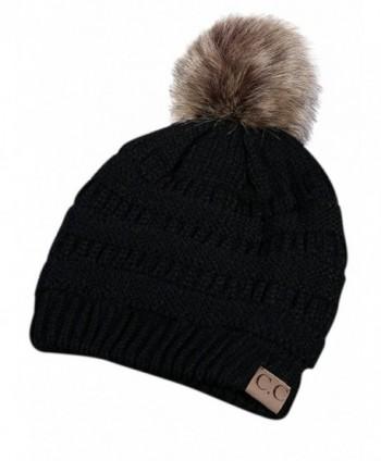 Joeoy Winter Warm Unisex Chunky Cable Knit Beanie Hat Ski Cap - Pompom-black - CZ18897TAOY