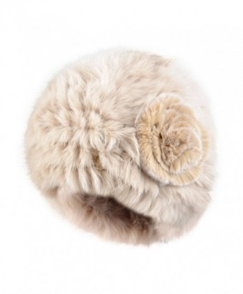 Kenmont Autumn Winter Women Lady 100% Real Rabbit Fur Hand Knit Beanie Hat Cap - Beige - CP11R5HWZA5