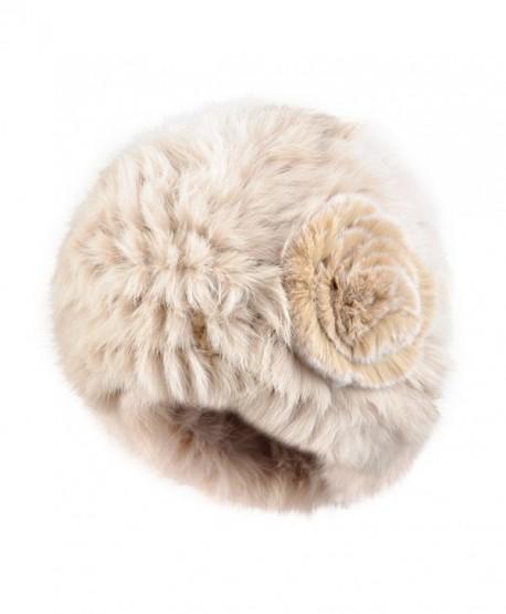 Kenmont Autumn Winter Women Lady 100% Real Rabbit Fur Hand Knit Beanie Hat Cap - Beige - CP11R5HWZA5