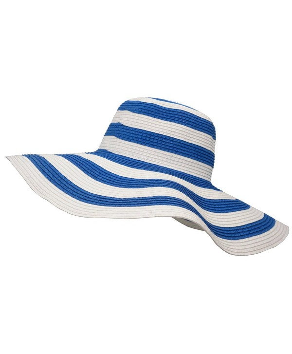 Roffatide Women's UPF50+ Foldable Striped Straw Sun Hat Floppy Wide Brim Beach Cap - Blue - CD183K367GN