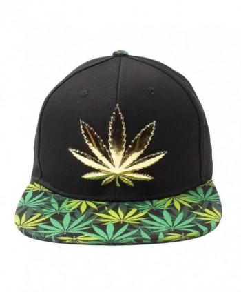 Cap2shoes Marijuana Weed Leaf Cannabis Snapback Hat Cap - Metal Black/Green - CJ129AYMBLD