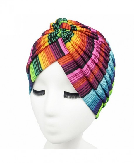 Women Indian Stretchy Turban colorful Head Wrap Chemo Hat - 1 - C81842LUTHU