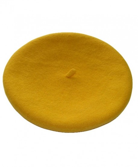 TRENTON French Style Lightweight Casual Classic Solid Color Wool Beret - Yellow - C612MA9SWO0