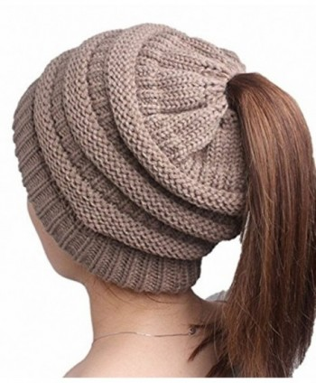 YakkieSiva Women's Winter Warm Soft Stretch Knitted High Bun Ponytail Beanie Hat Cap - Khaki - C7188NOYQ4Q