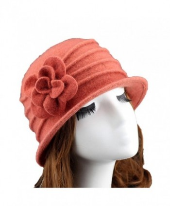 Ealafee Women 100% Wool Solid Color Round Top Cloche Beret Butterfly Fedora Hats - Orange - CC186WZ2L0T