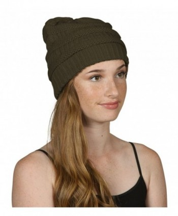 Black Thick Slouchy Knit Oversized Beanie Cap Hat-One Size-Olive - CI11P214UPP