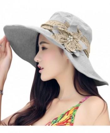 Women Large Brim Bucket Hats Anti-UV Foldable Beach Travel Flat Sun Hat Cap Topee - Light Grey - CI12HR2Y3D5