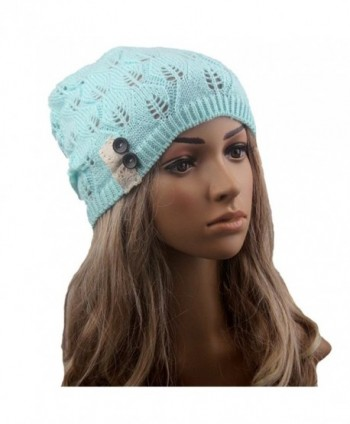 Tinksky Women Winter Warm Knit Hat Snow Ski Caps Lace Button Leaves Hollow Out Knitting Hat (Green) - CI12MAF38UH