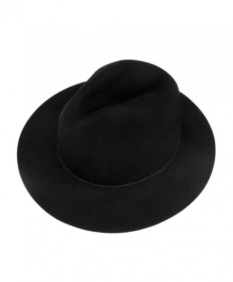 Choomon Women 100% Wool Trilby Fedora Hat Wide Brim Jazz Hat With Simple  Band - 15ccc6f72bb6
