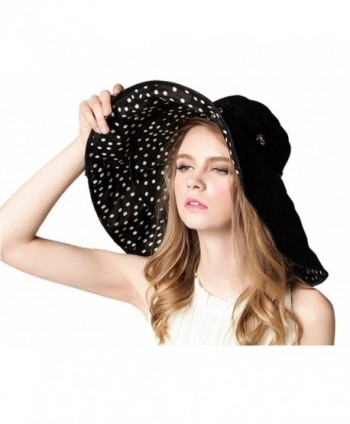 Women Large Wide Brim 2in1 Floppy Travel Beach Sun Visor Bucket UPF 50+ Hat Cap - Black-polka Dots - C512HXPYT4J