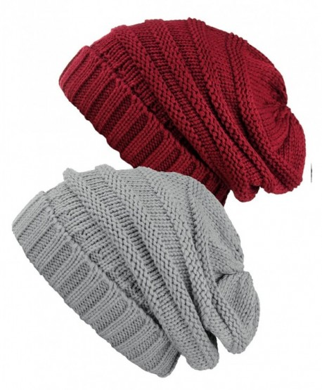NYFASHION101 Oversized Baggy Slouchy Thick Winter Beanie Hat - Burgundy & Natural Gray - C41869KKLYW