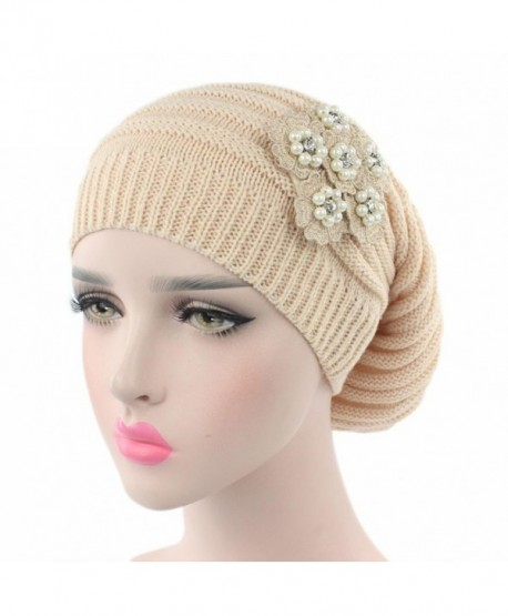 cdad71ac7c4 Elaco Women Ladies Knitting Cancer Hat Beanie Turban Head Wrap Cap Pile Cap  - Beige -