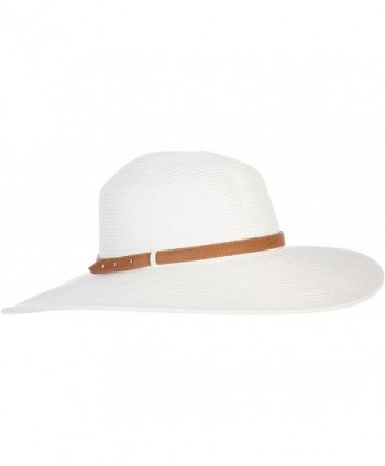 Nine West Womens Faux Leather Band Floppy Hat One Size White - CE12H6CQKU5