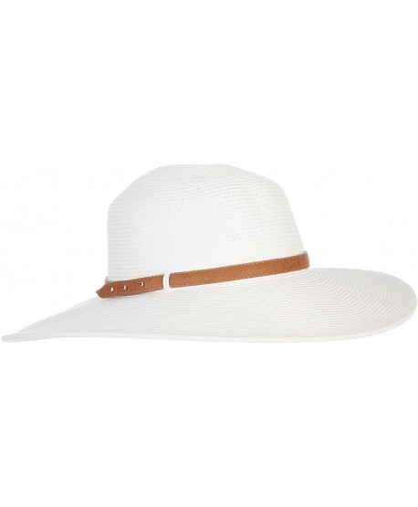 30713d01a66 Nine West Womens Faux Leather Band Floppy Hat One Size White - CE12H6CQKU5