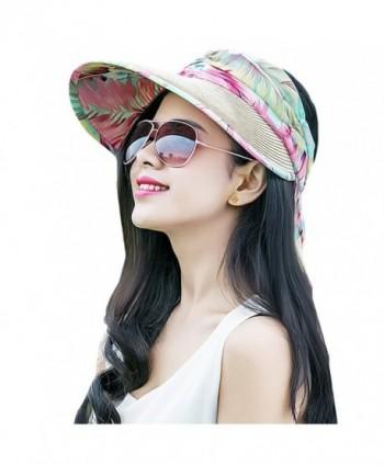 MatchLife Women's Summer Visor Cap UPF 50+ Foldable Wide Brim Beach Straw Sun Hat - Khaki - C5183GLH4K5