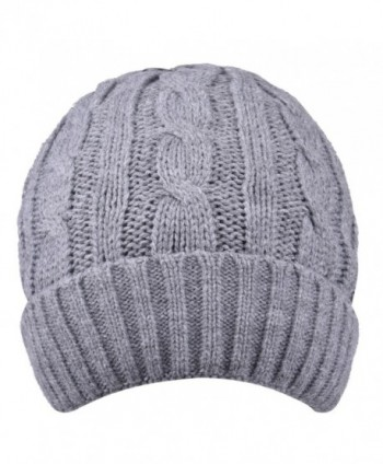Thick Winter Hats Visors Skull Slouchy Knit Cap Stocking Beanie Hat For Women - Grey - CQ186NXL9TI