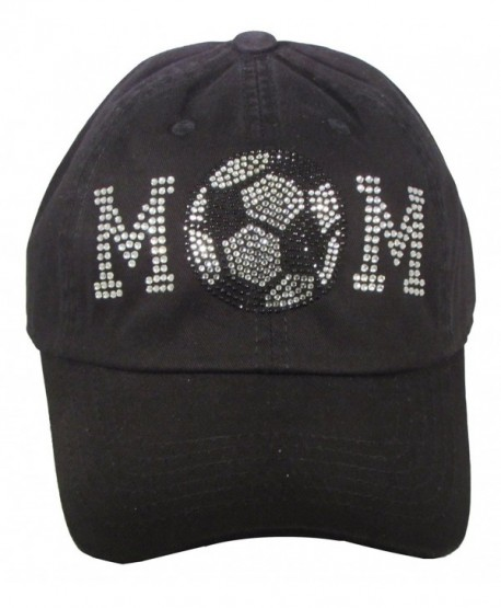 Bling Rhinestone Baseball Mom Black Cadet Cap Hat Sports Military - Soccer Mom - CR184D9G8IG