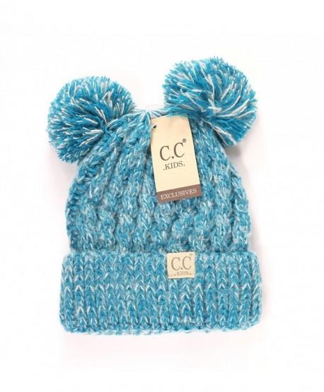 Crane Clothing Co. Women's Kids Double Pom CC Beanies - Teal - CI1859OICWY