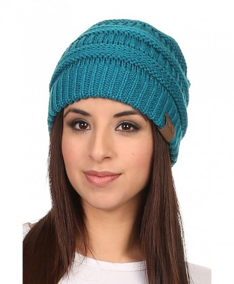 Vialumi Women's Solid Colored Knitted Warm Plush Beanie Cap - Teal - CF12MZIPABC