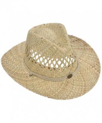 Livingston Men & Women's Woven Straw Cowboy Hat w/Hat Band Décor - Circle Button_beige - CV180O63E7X