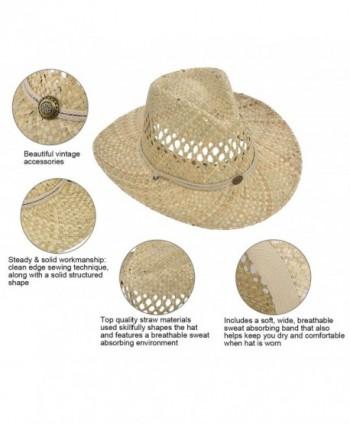 Men & Women's Woven Straw Cowboy Hat w/Hat Band Décor - Circle Button_beige  - CV180O63E7X