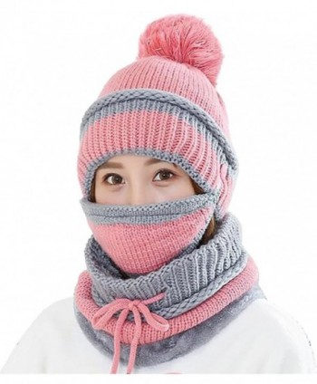 Ababalaya Women's Warm Fleece Pom Hat & Removable Windproof Mask & Neck Scarf Sets - Pink - C3188L2YG80