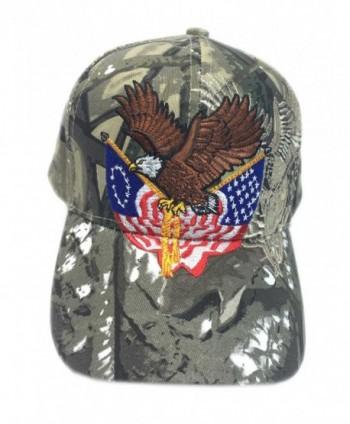 Aesthetinc Patriotic Embroidered American Eagle Clutching Double Flags Baseball Cap - Hunter Camo - CP12CKFD8IZ