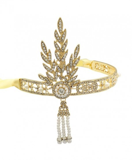 Plated Flapper Bridal Inspired Downton - Gold-tone - C111ZHO5F29