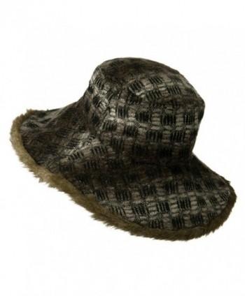 Ladys Brown Faux Fur Trim in Women's Bucket Hats