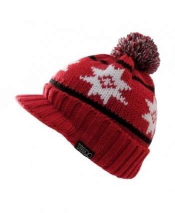 YUTRO Winter Wool Knitted Visor Ski Beanie Hat for Men/Women One Size - Red - CN11KDI687F