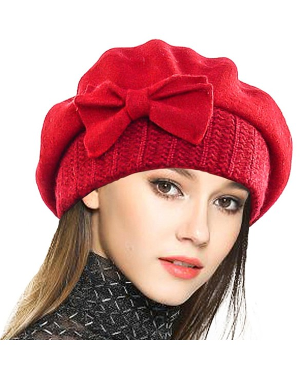 Lady French Beret 100% Wool Beret Floral Dress Beanie Winter Hat - Bow-red  - CB1862LDL24