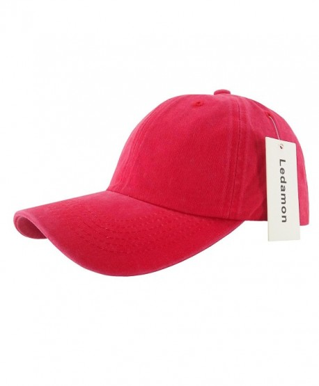 aed9619dfe1 Ledamon Baseball Cap Vintage Dad Hat Plain Polo Washed Cotton Adjustable Hat  Cap Unisex - Red