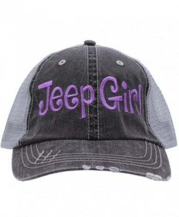 Jeep Girl Embroidered Distressed Trucker Style Cap Hat Rocks any Outfit Purple - CE17YISDHK7