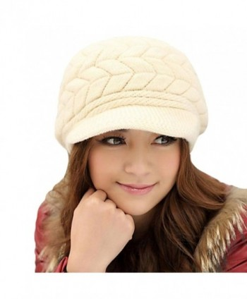 EachWell Women Winter Visor Hat Warm Knit Hat Cap Anti Wind - Beige - CO18699YXGC