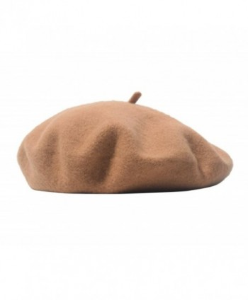 Beauty-girl Warm Winter Cap Classic Wool French Beret Tam Beanie Hat Cap For Women/Girls - Camel - CT187IW46SE